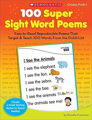 100 Super Sight Word Poems, Grades PreK-1 Rosalie Franzese Paperback