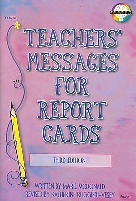 Teachers' Messages for Report Cards, Grades K - 8 Marie Mcdonald, Katherine Ruggieri Paperback