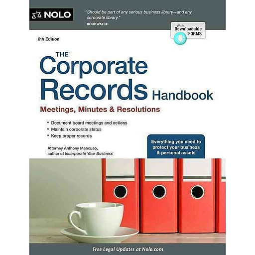 the corporate records handbook meetings minutes resolutions