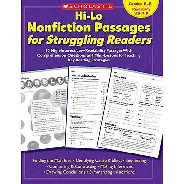 Hi-Lo Nonfiction Passages for Struggling Readers: Grades 6-8 Scholastic Teaching Resources Paperback