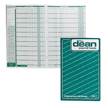 Dean & Fils - Livret de la paye, 80-024, 13 3/4 po x 9 po, 24 employés, anglais