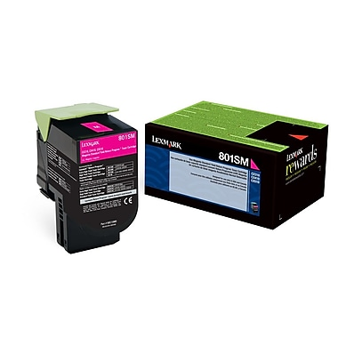 Lexmark 801SM Magenta Return Program Toner Cartridge, Standard Yield (80C1SM0)