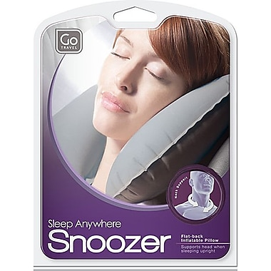 Go Travel The Snoozer Inflatable Flat Back Pillow, Grey