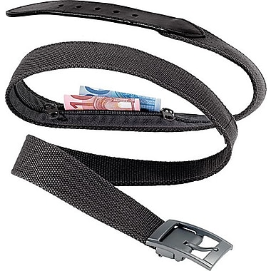 Go Travel Belt Bank Leather Belt with Concealed Storage Compartment, Black