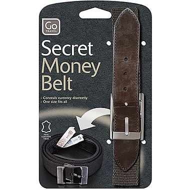 Go Travel Belt Bank Leather Belt with Concealed Storage Compartment, Brown