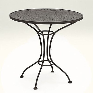 Woodard Parisienne 30'' Round Wrought Iron Dining Table; Hammered Pewter