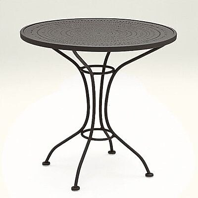 Woodard Parisienne 30'' Round Wrought Iron Dining Table; Textured Black