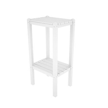 POLYWOOD Two Shelf Bar Height Side Table; White