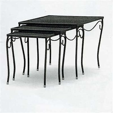 Woodard Mesh Top Occasional Nest of 3 Wrought Iron Side Table; Twilight
