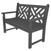 POLYWOOD  Chippendale 48'' Plastic Bench; Slate Grey