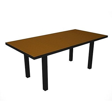 POLYWOOD Euro Dining Table; Black / Teak