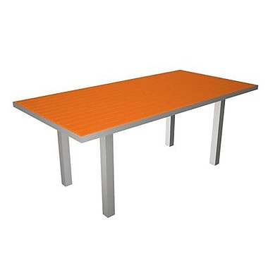 POLYWOOD Euro Dining Table; Silver / Tangerine