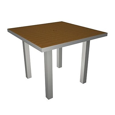 POLYWOOD Euro Dining Table; Silver & Teak