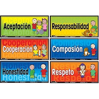 Ensemble d'affiches éducatives en espagnol sur les valeurs
