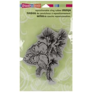 "Stampendous® 4"" x 5 1/4"" Christmas Cling Rubber Stamp, Winter Birds"