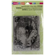 """Stampendous® 4"""" x 5 1/4"""" Christmas Cling Rubber Stamp, Train Postcard"""