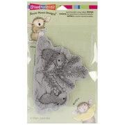 """Stampendous® 4"""" x 5 1/4"""" House Mouse Cling Rubber Stamp, Trim The Tree"""