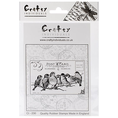 Crafty Individuals 85 mm x 55 mm Unmounted Rubber Stamp, Seven Cheeky Songbirds