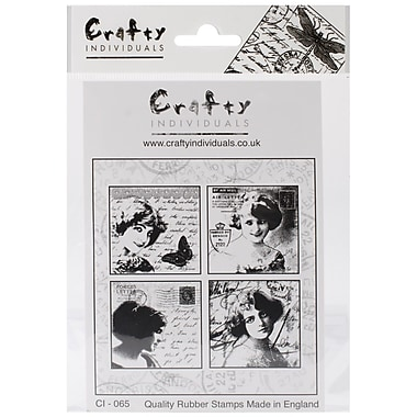 Crafty Individuals 85 mm x 85 mm Unmounted Rubber Stamp, Love Letter Ladies