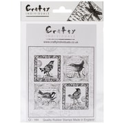 Crafty Individuals 85 mm x 85 mm Unmounted Rubber Stamp, 4 Little Songbirds