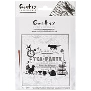 Crafty Individuals 95 mm x 70 mm Unmounted Rubber Stamp, Tea Party Ticket
