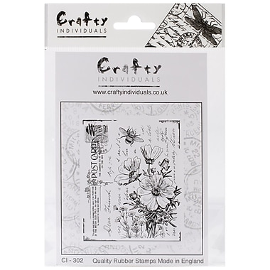 Crafty Individuals 70 mm x 85 mm Unmounted Rubber Stamp, Floral Postcard