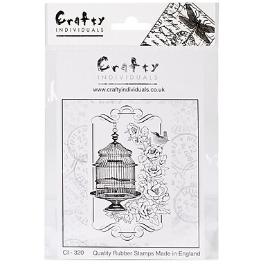 Crafty Individuals 60 mm x 95 mm Unmounted Rubber Stamp, Floral Birdcage