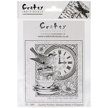Crafty Individuals 83 mm x 97 mm Unmounted Rubber Stamp, Tea at Three