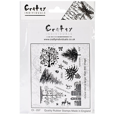 Crafty Individuals 96 mm x 137 mm Unmounted Rubber Stamp, Mini Christmas Trees