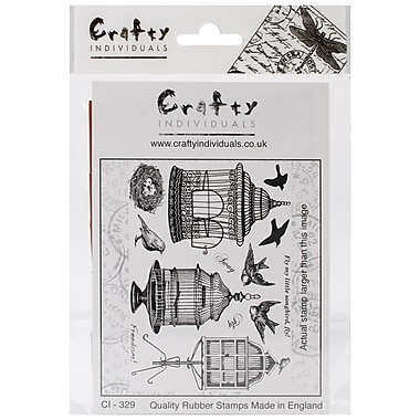 Crafty Individuals 96 mm x 137 mm Unmounted Rubber Stamp, Beautiful Birdcages