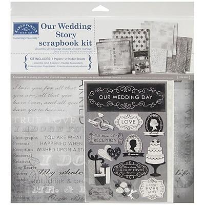 Karen Foster Our Wedding Story Scrapbook Page Kit, 12