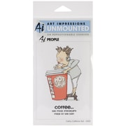 "Art Impressions 7"" x 4"" People Cling Rubber Stamp Set, Cathy Caffeine"