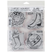 "Stampers Anonymous Tim Holtz 7"" x 8 1/2"" Unmounted Cling Rubber Stamp Set, Christmas Blueprints #2"