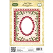 "Justrite® Papercraft 4 1/2"" x 5 3/4"" Background Cling Stamp, Holly Frame"