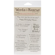 "Words To The Rescue 8"" x 4 1/2"" Clear Stamp Set, Belated Birthday"