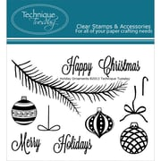 """Technique Tuesday® 3"""" x 4"""" Clear Stamp, Holiday Ornaments"""