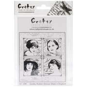 Crafty Individuals 85 mm x 85 mm Unmounted Rubber Stamp, Parisian Beauties