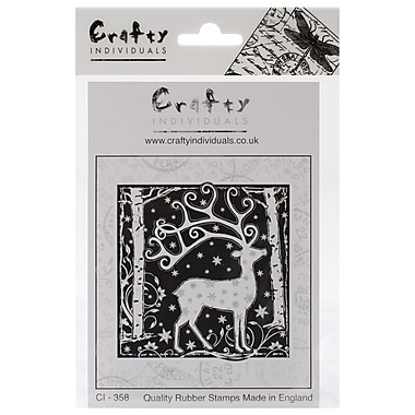 Crafty Individuals 80 mm x 82 mm Unmounted Rubber Stamp, Magical Reindeer
