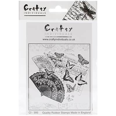 Crafty Individuals 100 mm x 84 mm Unmounted Rubber Stamp, Oriental Fans