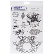"IndigoBlu 9 1/4"" x 6 1/4"" A5 Mounted Cling Rubber Stamp, Blooming Great"