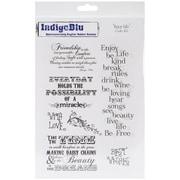 "IndigoBlu 9 1/4"" x 6 1/4"" Mounted Cling Rubber Stamp, Enjoy Life"