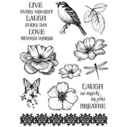 "IndigoBlu 9 1/4"" x 6 1/4"" Mounted Cling Rubber Stamp, Live Laugh Love"