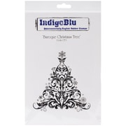"IndigoBlu 9 1/4"" x 6 1/4"" A6 Mounted Cling Rubber Stamp, Baroque Christmas Tree"