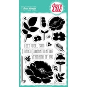 """Avery Elle 4"""" x 6"""" Clear Photopolymer Stamp Set, Petals & Stems"""