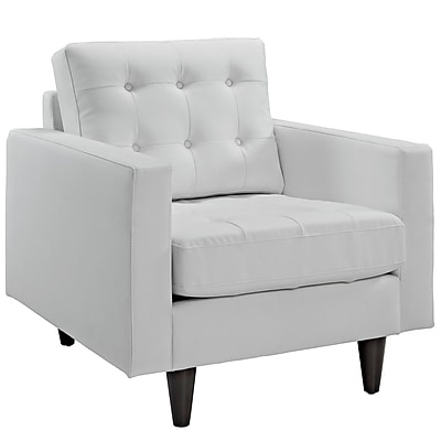 Modway Empress Bonded Leather Armchair, White