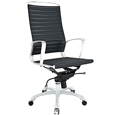 Modway Tempo High-Back Vinyl Executive Chair, Adjustable Arms, Black