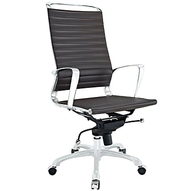 Modway EEI-1025-BRN Tempo Vinyl High-Back Executive Chair with Adjustable Arms, Brown