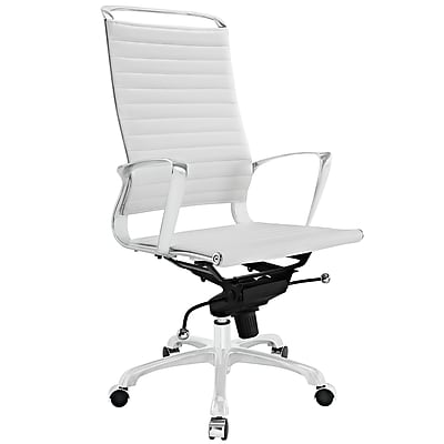 Modway EEI-1025-WHI Tempo Vinyl High-Back Executive Chair with Adjustable Arms, White