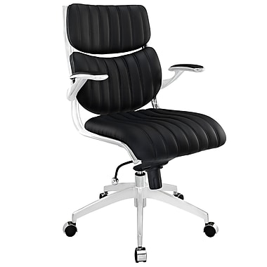 Modway EEI-1028-BLK Escape Leatherette Mid-Back Executive Chair with Adjustable Arms, Black