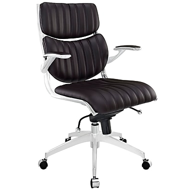 Modway EEI-1028-BRN Escape Leatherette Mid-Back Executive Chair with Adjustable Arms, Brown